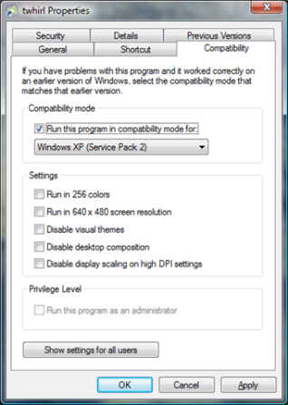 Compatibility Mode in Windows Vista