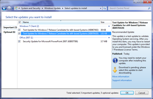 "Interesting Patch Tuesday ""Test Updates"" for Windows 7 RC"